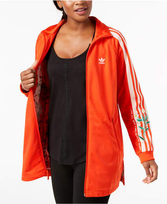 adidas Embroidered Long-Line Track Jacket