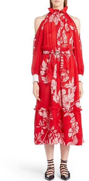 Women's Fendi Print Silk Blend Fil Coupe Cold Shoulder Dress