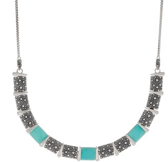 Michael Dawkins Sterling Silver Starry Night Gemstone Adj. Necklace