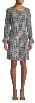 Printed Bell-Sleeve Shift Dress