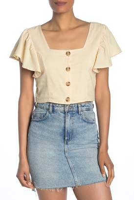 Cotton On & Co. Ava Flutter Sleeve Cropped Blouse
