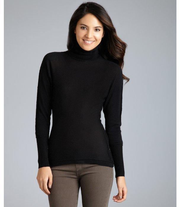 Cris black silk-cashmere hi-low turtleneck sweater