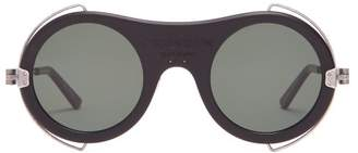 Calvin Klein Round Frame Acetate Sunglasses - Mens - Black