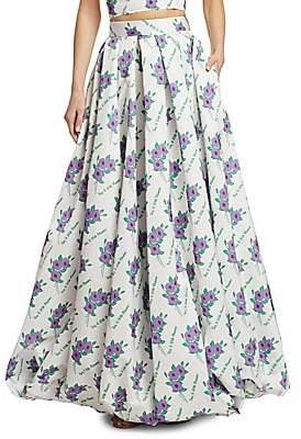 Rosie Assoulin Women's Full Floral Pleated Maxi Skirt