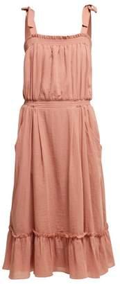 Loup Charmant Tybee Gathered Organic Cotton Midi Dress - Womens - Pink