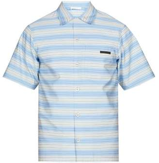 Prada Striped Short Sleeved Cotton Shirt - Mens - Blue Multi