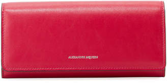 Alexander McQueen Leather Continental Flap Wallet, Pink