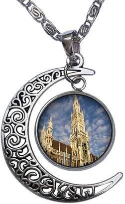 Munich GiftJewelryShop Travel Art Museums Germany Crescent Moon Galactic Universe Glass Cabochon Pendant Necklace