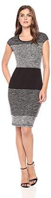 Lark & Ro Women's Sleeveless Blocked Stripe Sheath Dress