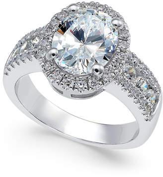 Arabella Swarovski Zirconia Oval Halo Ring in Sterling Silver