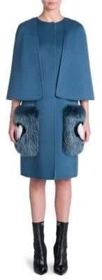 Fendi Fox-Trim Cape Coat