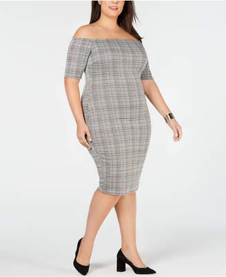 Soprano Trendy Plus Size Off-The-Shoulder Bodycon Dress