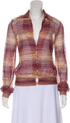 Missoni Collared Open Knit Cardigan
