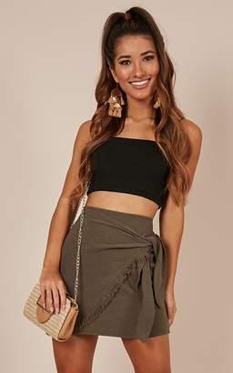 Showpo Best Day Ever skirt in khaki linen look