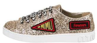 Miu Miu 2018 Glitter Low-Top Sneakers