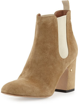 Laurence Dacade Mia Suede 85mm Chelsea Boot, Beige $985 thestylecure.com