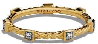 David Yurman Paveflex Ring with Diamonds in 18K Gold, 2.7mm