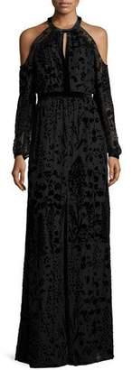 Parker Floral Burnout Cold-Shoulder Column Gown $450 thestylecure.com