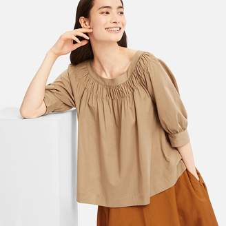 Uniqlo WOMEN Soft Cotton Gathered 3/4 Sleeve Blouse
