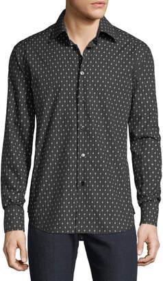 Brioni Men's Regular Fit Long-Sleeve B Printed Sport Shirt