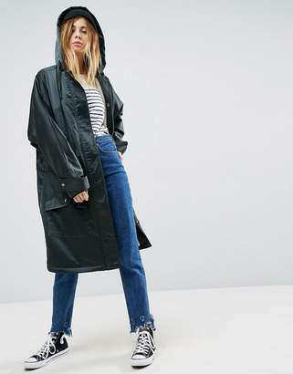 Asos Slouchy Satin Parka with Fleece Lining