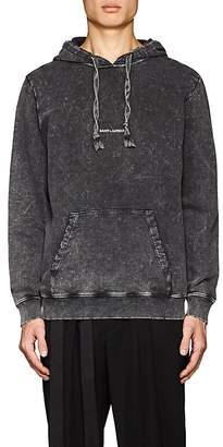 Saint Laurent Men's Logo Acid-Washed Cotton Oversized Hoodie