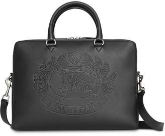 Burberry Embossed Crest Leather Briefcase