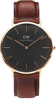 Daniel Wellington Analog Classic Black Goldtone and Leather Watch