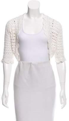 White + Warren Crochet Knit Shrug