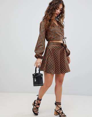 Glamorous Wrap Mini Skirt In Check Co-Ord