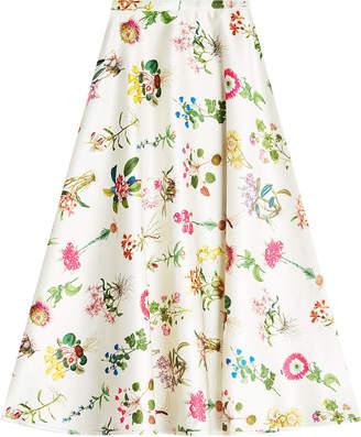 N°21 N21 Printed Satin Midi Skirt