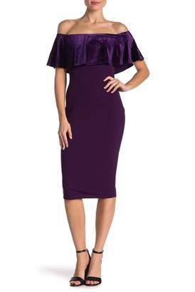 Vanity Room Off-the-Shoulder Velvet Popover Midi Dress