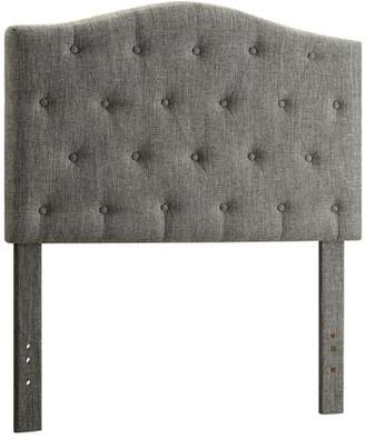 WHI Button Tufted Fabric Twin Headboard, Grey