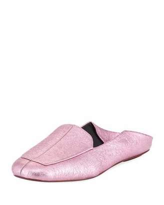 Tibi Cecil Crinkled Metallic Slide Loafer