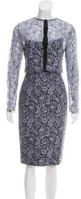Lela Rose Lace Strapless Dress Set blue Lace Strapless Dress Set