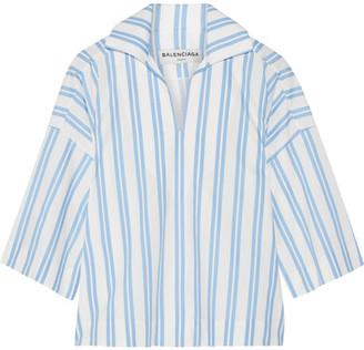 Balenciaga - Striped Cotton-poplin Top - Blue $735 thestylecure.com