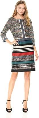 Nine West Women's Technicolor Suba 3/4 Sleeve Scuba Dress