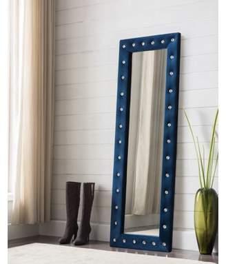 "Pilaster Designs Jane Blue Upholstered Tufted Polyester Velvet Transitional Floor Standing Mirror (Crystal Buttons) (63""H x 22""W)"