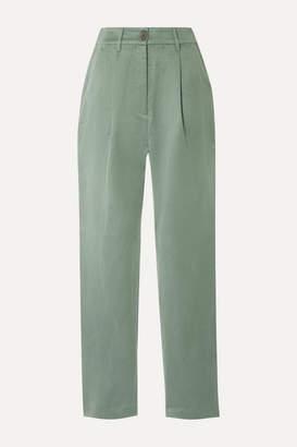 Mara Hoffman Dita Tencel And Linen-blend Staight-leg Pants - Gray green