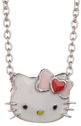 Hello Kitty Sterling Silver Heart Love Bow Slide Necklace
