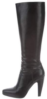 Prada Leather Knee-High Platform Boots