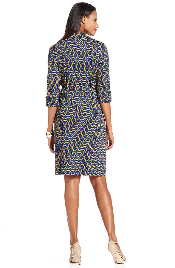 Charter Club Petite Dress, Three-Quarter-Sleeve Chain-Print Belted Shirtdress