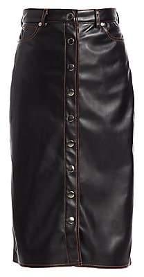 Proenza Schouler PSWL Women's Button-Front Faux Leather Midi Skirt - Size 0