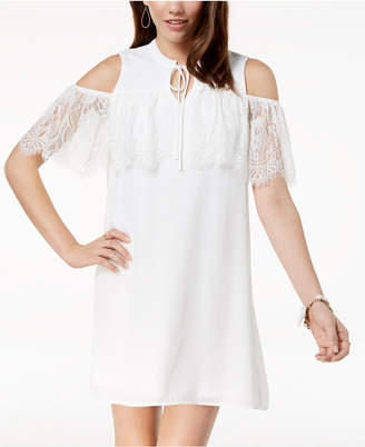 As U Wish Juniors' Lace-Trimmed Cold-Shoulder Dress