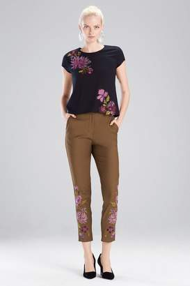 Josie Natori Stretch Twill Embroidered Pants