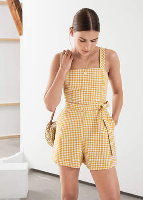 And other stories Gingham Square Neck Linen Romper