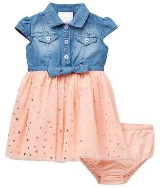 Iris & Ivy Short Sleeve Denim Shirt Dress (Baby Girls)
