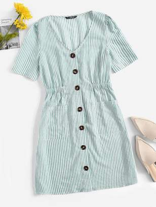 Shein Single Breasted Pocket Patched Striped Dress