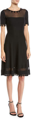Oscar de la Renta Short-Sleeve Pompom Knit Day Dress w/ Sheer Inserts