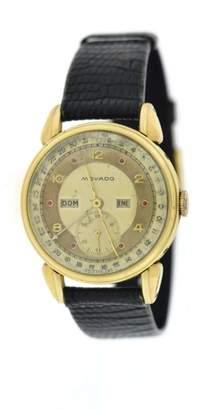 Movado 14K Yellow Gold Ruby Dial Calendar Triple Date Vintage 34mm Mens Watch